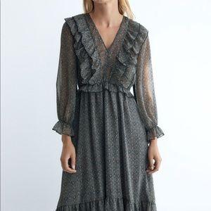 Zara metallic thread midi dress NWT
